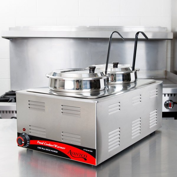 """Avantco 12"""" x 20"""" Full Size Electric Countertop Food Cooker / Warmer / Soup Station with 2 Insets, 2 Covers, and 2 Ladles - 120V, 1500W Main Image 4"""