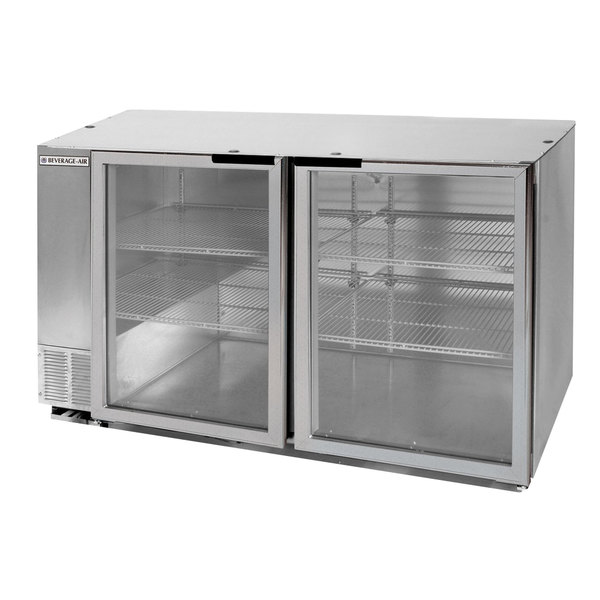 "Beverage Air BB58HC-1-G-S 58"" Stainless Steel Glass Door Back Bar Refrigerator"