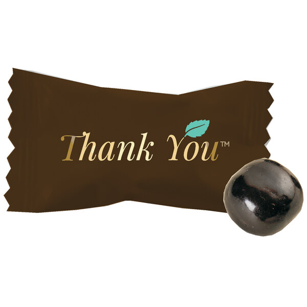 """""""Thank You"""" Chocolate Buttermints Candy Individually Wrapped - 1000/Case Main Image 1"""