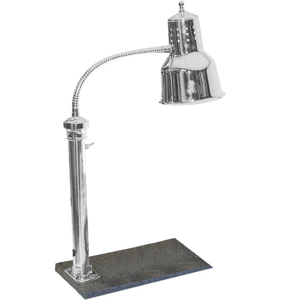 """Hanson Heat Lamps PSET-16-CH Single Bulb Freestanding Heat Lamp with 11"""" x 18"""" Solid Base and Chrome Finish - 115V Main Image 1"""