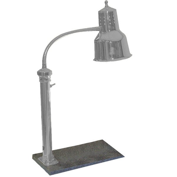 """Hanson Heat Lamps PSET-16-SS Single Bulb Freestanding Heat Lamp with 11"""" x 18"""" Solid Base and Stainless Steel Finish - 115V Main Image 1"""