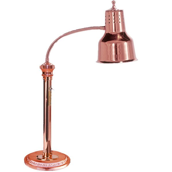 """Hanson Heat Lamps ESL/RB9/BCOP Single Bulb Flexible Freestanding Heat Lamp with 9"""" Round Base and Bright Copper Finish - 115/230V Main Image 1"""