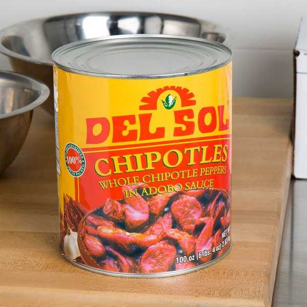 Del Sol 10# Can Whole Chipotle Peppers in Adobo Sauce - 6/Case Main Image 5