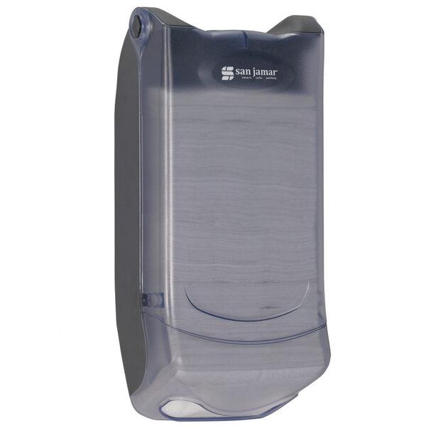 San Jamar H5004PCL Mini Interfold Venue Wall Mount Napkin Dispenser - Clear Main Image 1