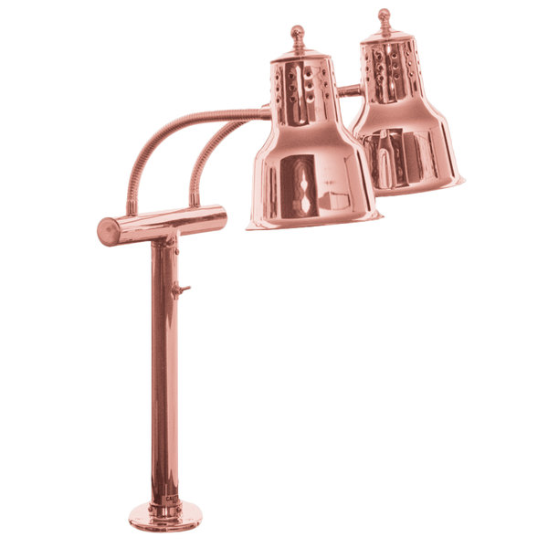 Hanson Heat Lamps EDL/FM/BCOP Dual Bulb Flexible Mounted Heat Lamp with Bright Copper Finish - 115/230V Main Image 1