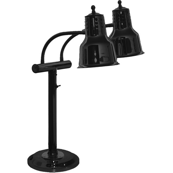 """Hanson Heat Lamps EDL/RB9/SOL/B Dual Bulb Flexible Freestanding Heat Lamp with 9"""" Round Base and Black Finish - 115/230V Main Image 1"""