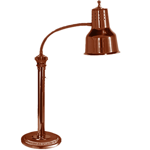 """Hanson Heat Lamps ESL/RB9/SC Single Bulb Flexible Freestanding Heat Lamp with 9"""" Round Base and Smoked Copper Finish - 115/230V Main Image 1"""
