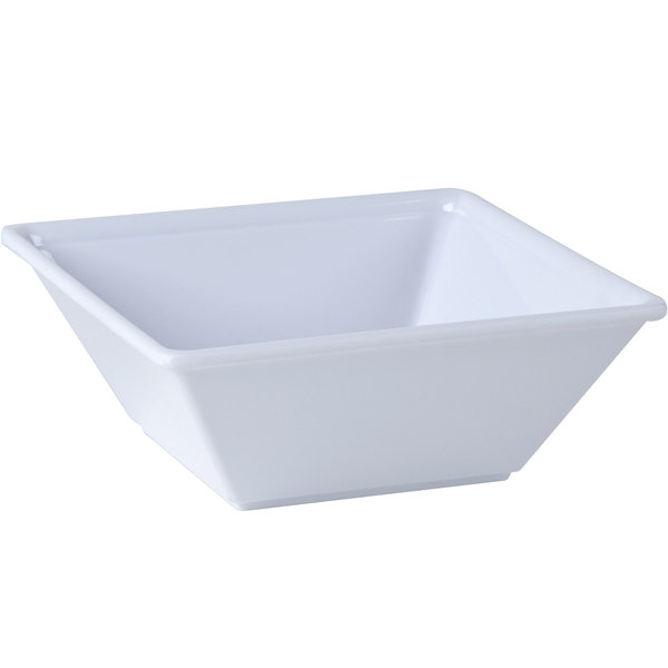 "Thunder Group PS5006W 6"" x 6"" Passion White Square 23 oz. Melamine Bowl - 12/Pack Main Image 1"