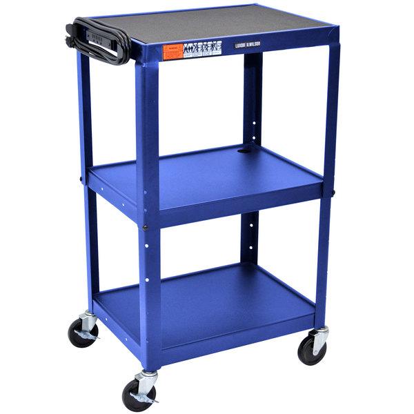 "Luxor AVJ42 Blue 3 Shelf A/V Utility Cart 24"" x 18"" - Adjustable Height"