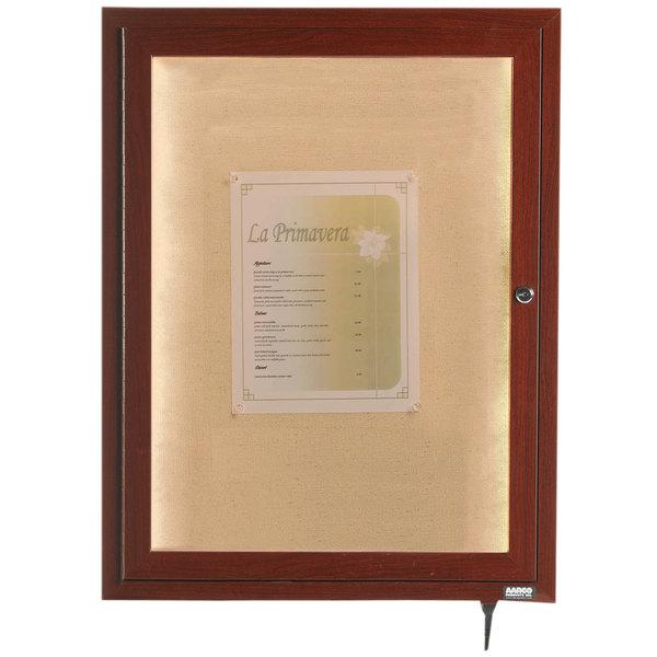 "Aarco LWL2418W 24"" x 18"" Walnut Finish Lighted Bulletin Board Cabinet"