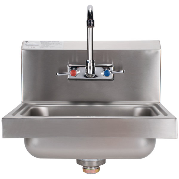 """Advance Tabco 7-PS-60 Hand Sink with Splash Mount Faucet - 17 1/4"""" x 15 1/4"""""""