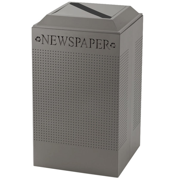 Rubbermaid FGDCR24PSM Silhouettes Silver Metallic Designer Recycling Receptacle - Paper 29 Gallon