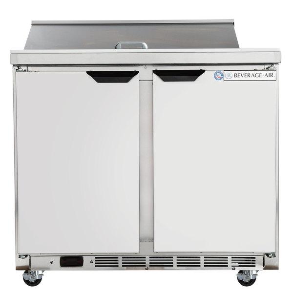 """Beverage-Air SPE36HC-08-23 Elite Series 36"""" 2 Door ADA Height Refrigerated Sandwich Prep Table"""