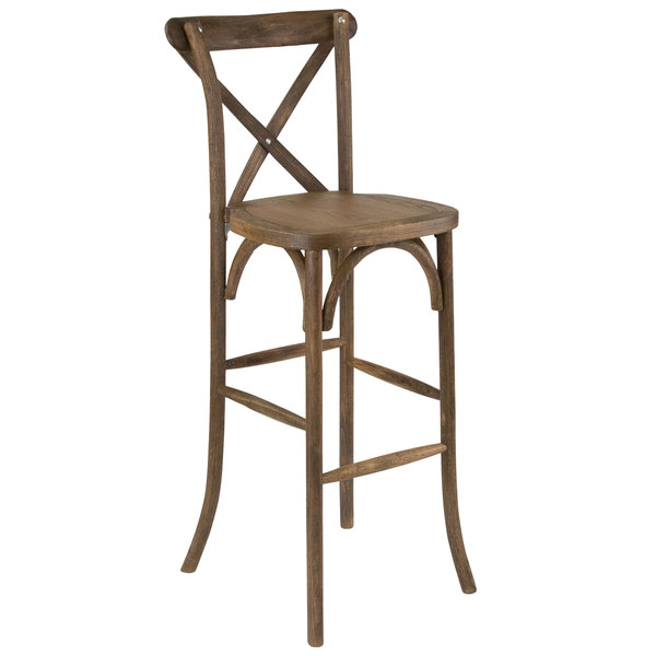 Flash Furniture XA X BAR GO GG Hercules Dark Antique Wood Stackable Cross  Back Barstool
