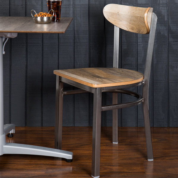 Lancaster Table & Seating Boomerang Clear Coat Chair with Driftwood Seat and Back Main Image 4