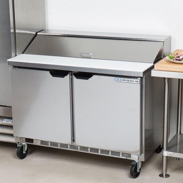 "Beverage-Air SPE48HC-12 Elite Series 48"" 2 Door Refrigerated Sandwich Prep Table Main Image 7"