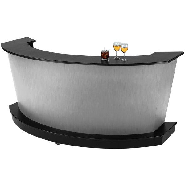 "Vollrath 75683SLV 60"" Silver ACM Curved Portable Bar Main Image 1"