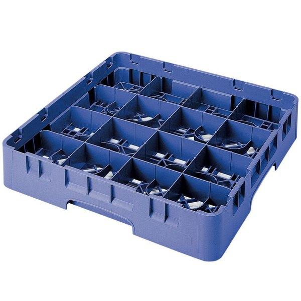 "Cambro 16S800168 Camrack 8 1/2"" High Customizable Blue 16 Compartment Glass Rack"