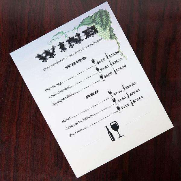 "8 1/2"" x 11"" Menu Paper - Wine Setting Themed Grapevine Design Right Insert - 100/Pack"