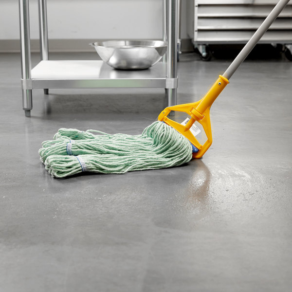 "Continental Wilen A02803 J.W. Atomic Loop™ 32 oz. Large Green Blend Loop End Mop Head with 5"" Band Main Image 4"