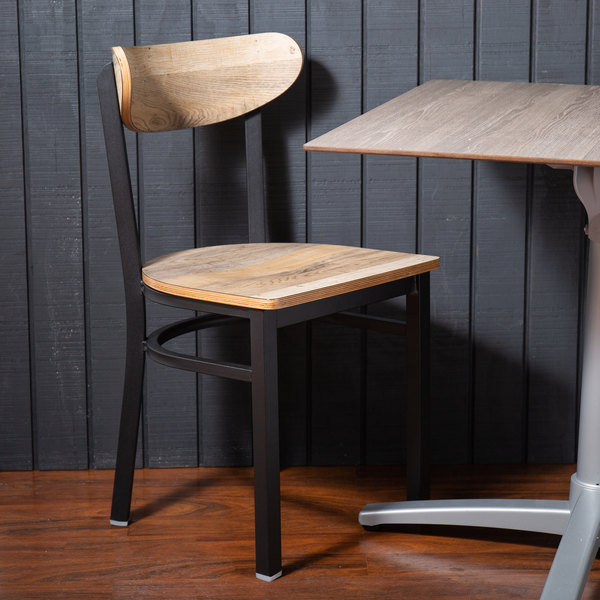 Lancaster Table & Seating Boomerang Black Chair with Driftwood Seat and Back Main Image 4