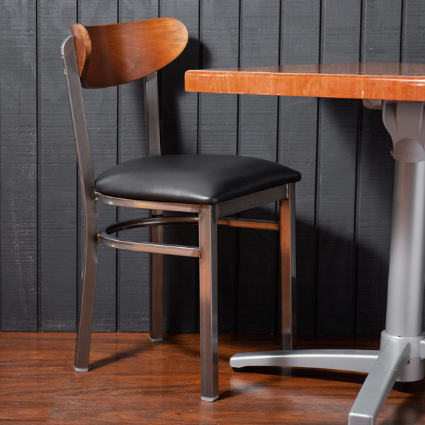 Lancaster Table & Seating Boomerang Clear Coat Chair with Black Vinyl Seat and Antique Walnut Back Main Image 4