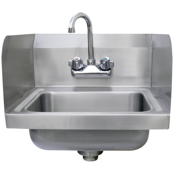 "Advance Tabco 7-PS-EC-SP 17 1/4"" x 15 1/4"" Economy Hand Sink with Splash Mount Faucet and Side Splash Guards"