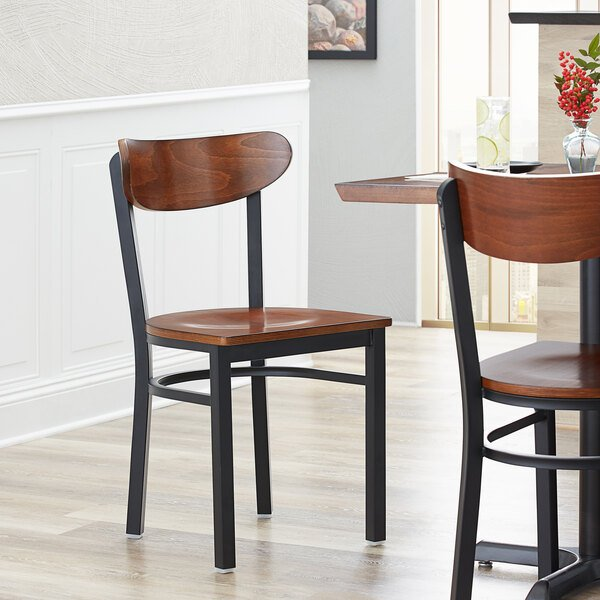 Lancaster Table & Seating Boomerang Black Chair with Antique Walnut Seat and Back Main Image 4