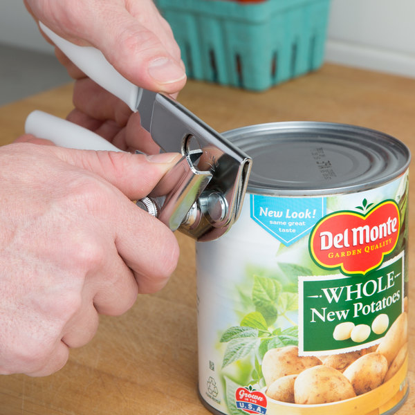 Swing A Way Portable Can Opener With White Handle