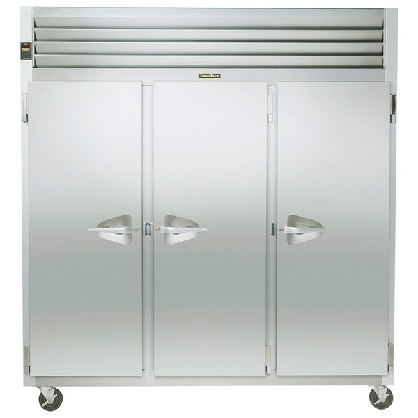 """Traulsen G31010 77"""" G Series Three Section Solid Door Reach-In Freezer with Left / Right / Right Hinged Doors - 69 cu. ft."""