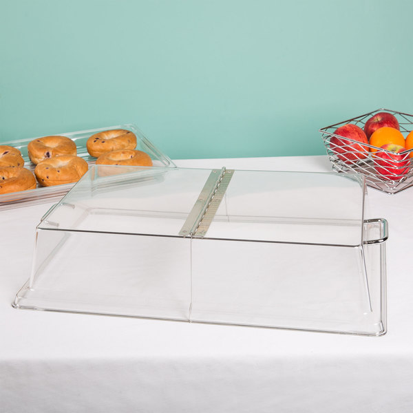 """Cambro RD1220CWH Camwear 12"""" x 20"""" Clear Dome Display Cover with Hinged Lid"""