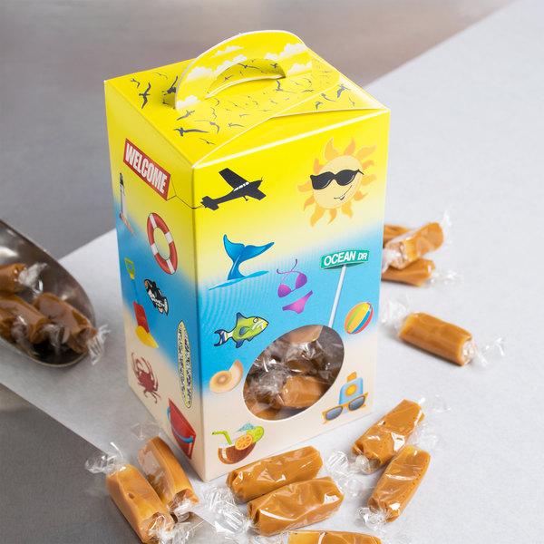 "1-Piece 1 lb. Beach Window Candy Box 3 1/2"" X 3"" X 6 3/8"" - 250/Case"