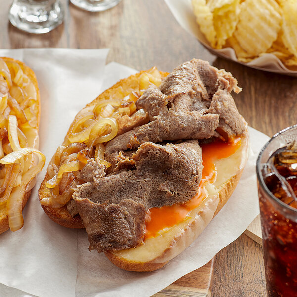 Hometown Pride 3 oz. Chunked and Formed Beef Sandwich Slices - 10 lb. Main Image 2