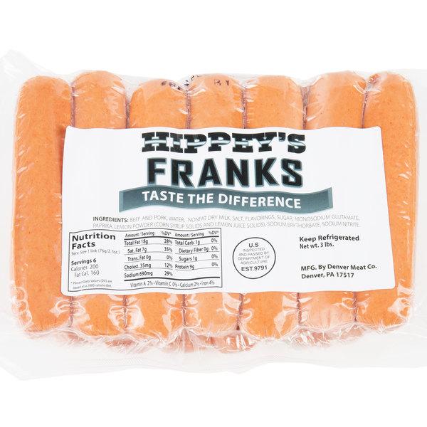 Hippey's 3 lb  Pack 6/1 Size Regular Franks - 6/Case