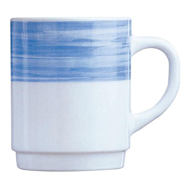 Arcoroc 54736 Opal Brush Blue 8 oz  Stackable Mug by Arc Cardinal - 36/Case