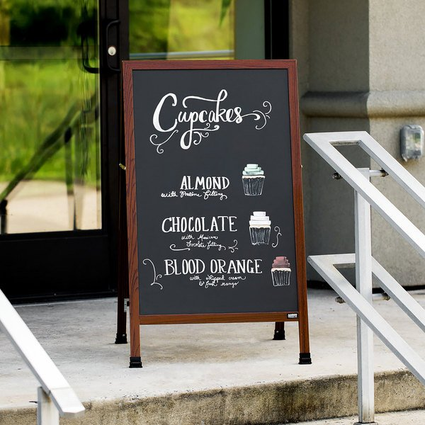 "Aarco MA-1B 42"" x 24"" Cherry A-Frame Sign Board with Black Write On Chalk Board"