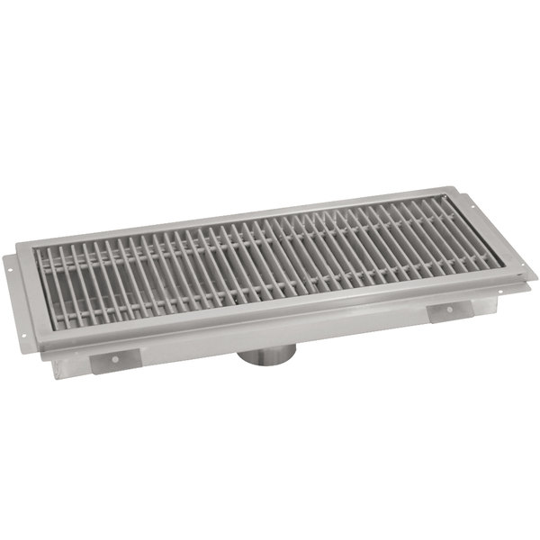 """Advance Tabco FTG-1854 18"""" x 54"""" Floor Trough with Stainless Steel Grating"""