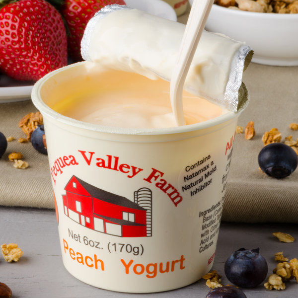 Pequea Valley Farm 6 oz. Peach Yogurt - 6/Case