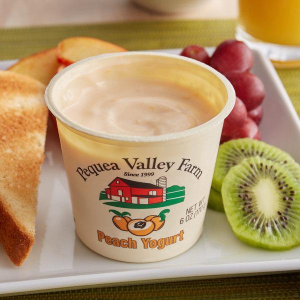 Pequea Valley Farm 6 oz. Amish-Made 100% Grass Fed Peach Yogurt - 6/Case Main Image 2