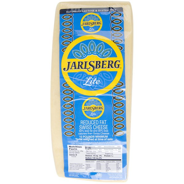 Jarlsberg Lite Imported Reduced Fat Swiss Cheese 11 lb  Solid Block