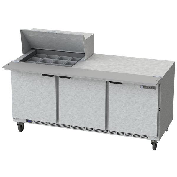 "Beverage Air SPE72HC-12M 72"" 3 Door Mega Top Refrigerated Sandwich Prep Table"