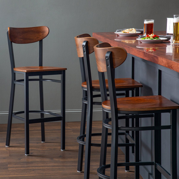 Lancaster Table & Seating Boomerang Bar Height Black Chair with Antique Walnut Seat and Back Main Image 4