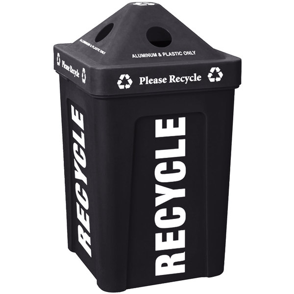 IRP 1070 Black Stacking Pyramid Lid Recycle Bin - 48 Gallon