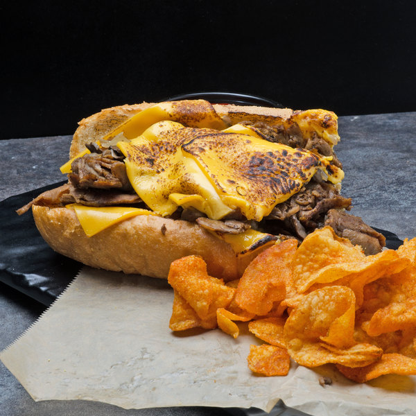 Hometown Pride 4 oz. Chunked and Formed 100% Beef Sandwich Slices - 10 lb.
