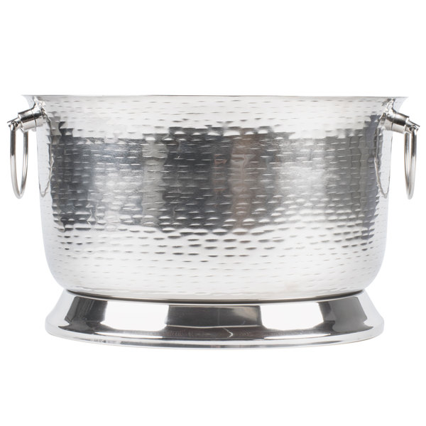 Tablecraft Btb1610 Round Double Wall Stainless Steel Beverage Tub With Base 16 X 10