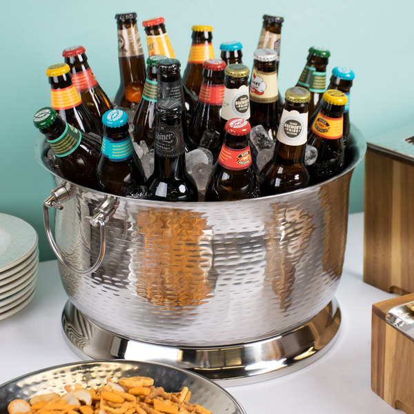 """Tablecraft BTB1610 Round Double Wall Stainless Steel Beverage Tub with Base - 16"""" x 10"""" Main Image 7"""