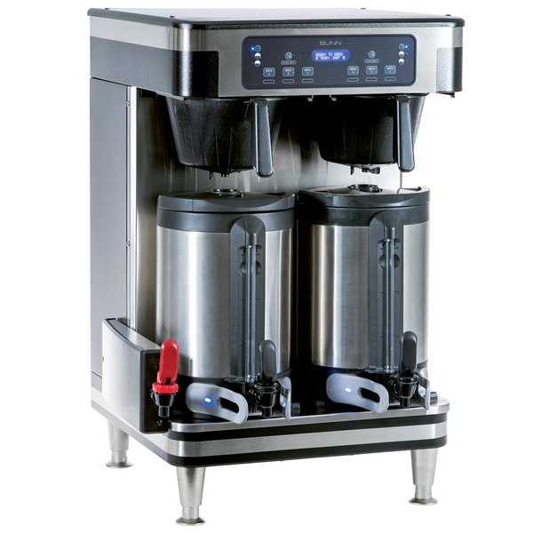 Bunn 51200.0104 ICB Infusion Series WiFi Capable Black and Stainless Steel Twin Coffee Brewer - 120/240V Main Image 1