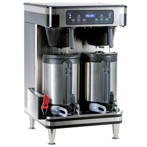 Bunn 51200.0101 ICB Infusion Series Black and Stainless Steel Twin Automatic Coffee Brewer - 120/240V, 6000W Main Image 1