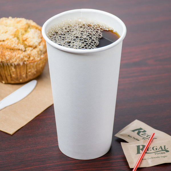 Choice 20 oz. White Poly Paper Hot Cup - 50/Pack