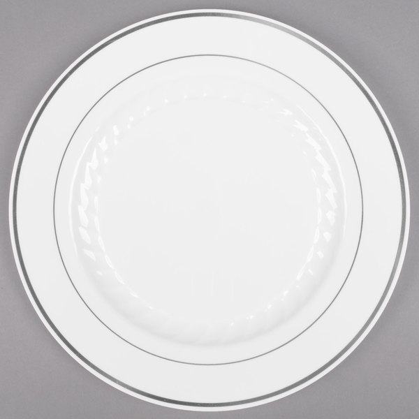 WNA Comet MP75WSLVR 7 1/2 inch White Masterpiece Plastic Plate with Silver Accent Band  - 15/Pack